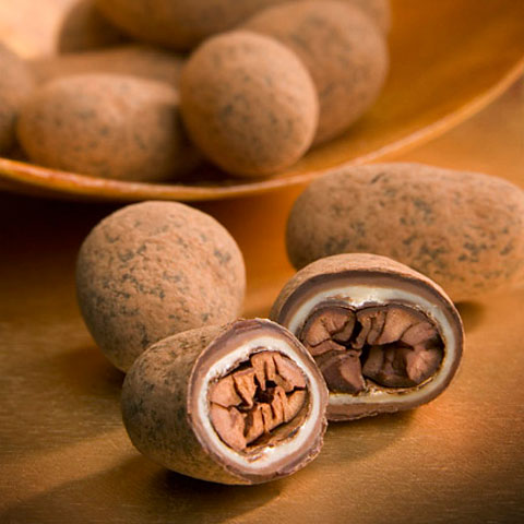 """Fresh roasted whole cocoa beans in luscious layers of fine chocolates & cocoa powders."""