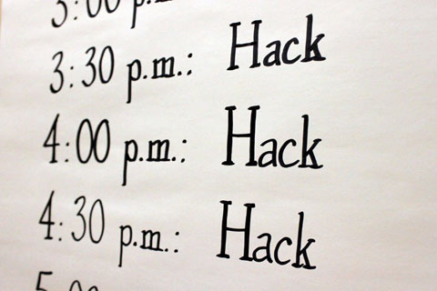 The schedule was tight — lots of hacking to be accomplished in 12 hours.