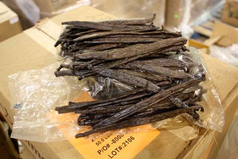 Vanilla beans at the Nielsen-Massey factory.