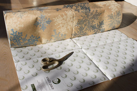 The grid on the back of Snail's Pace wrapping papers help you cut straigh lines and use the sheets more efficiently.