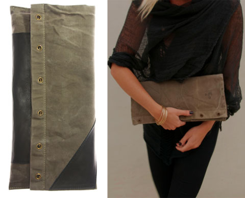 Environment by Heather Heron Razorblades Fold Over Clutch