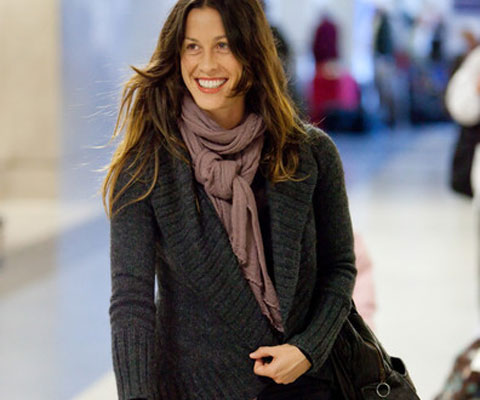 Alanis Morissette wearing the Environment by Heather Heron Stinson scarf.