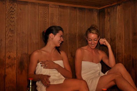 Sweating it out in the sauna. Photo by Sara Beth Turner.