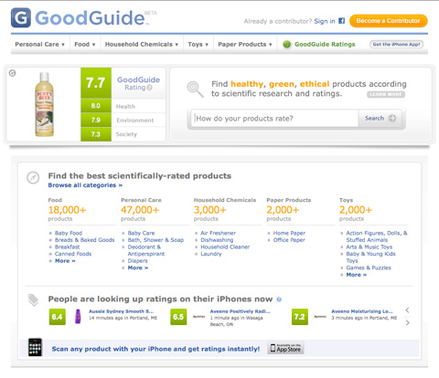 GoodGuide, which also has an iPhone app where you can scan barcodes and get instant data in the store.