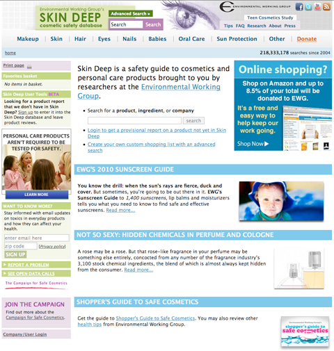 The Environmental Working Group's Skin Deep Cosmetics Database.