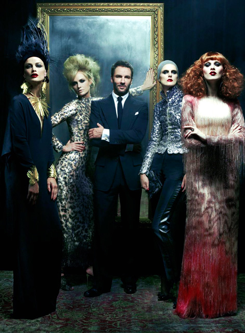 Ford and model muses in Vogue's December editorial. Photo by Steven Meisel, via Vogue.