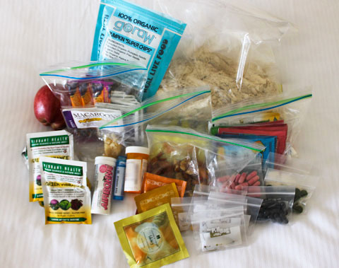 A small selection of the supplements and foods I packed in my suitcase.