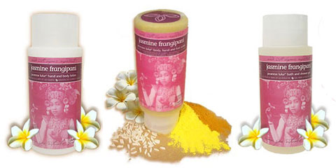 JAMU Spa Frangipani-scented products.