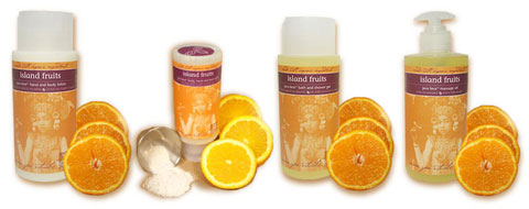 JAMU Spa Island Fruits-scented products.