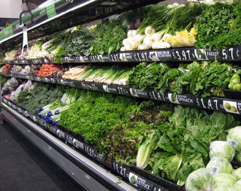 Always start, and do most of your shopping, in the veggie aisle. Whole Foods now lists the ANDI score, measuring the nutrient density, for all produce. The highest scores? Kale, collard greens & watercress. Stock up!
