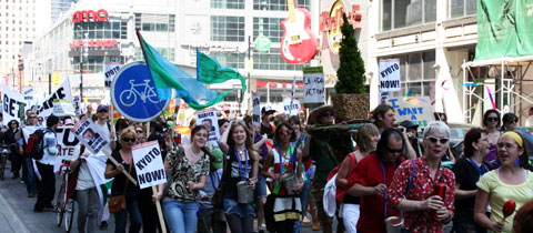"In Toronto, the Reclaim Earth Day 2008 celebration was dedicated to ""reclaiming the spirit of the original Earth Day."""