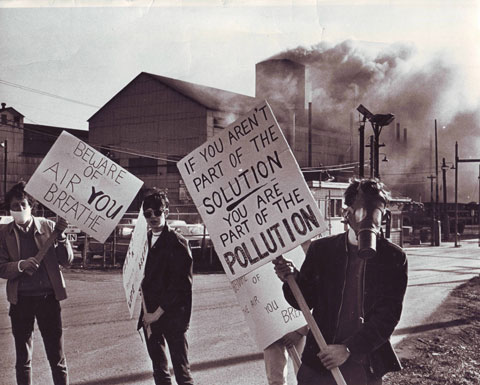 Demonstrators outside of a polluting factory on the first Earth Day, 1970.