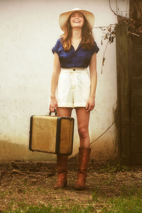 Covet Short Sleeve Silk Blouse and Dagg & Stacey Chesil Shorts. Photo by Found Creative.
