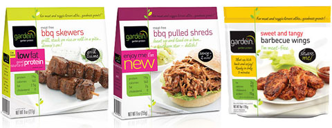 Gardein meat-free bbq skewers, bbq pulled shreds & sweet & tangy barbecue wings.