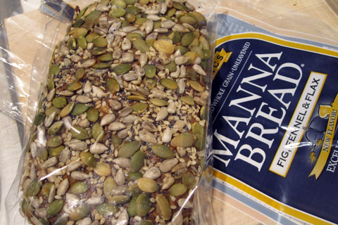 Manna Fig Fennel Flax bread. Ingredients: Sprouted organic wheat kernels, filtered water, organic black mission figs (diced figs, organic out flour), organic flax seeds, organic fennel seeds, organic poppy seeds, organic pumpkin seeds, organic sunflower seeds, Organic Sesame seeds. Photo via Lucky Taste Buds!