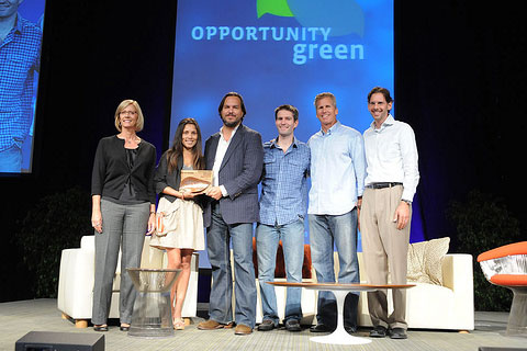 Zimride accepting their OG25 Green Business Startup Competition Award at green business conference Opportunity Green.