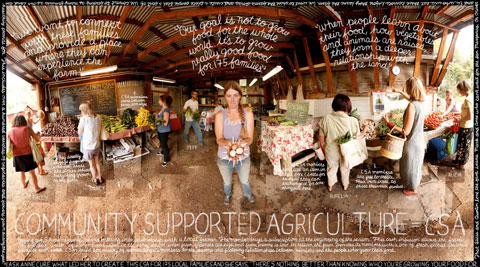 COMMUNITIES INVEST IN THEIR LOCAL FOOD SYSTEMS: Consumers can buy shares to support local farms like Anne Cures in Boulder, Colorado. In return they receive weekly boxes of fresh fruits and vegetables. Such arrangements connect consumers with the people who grow their food while strengthening local food systems.