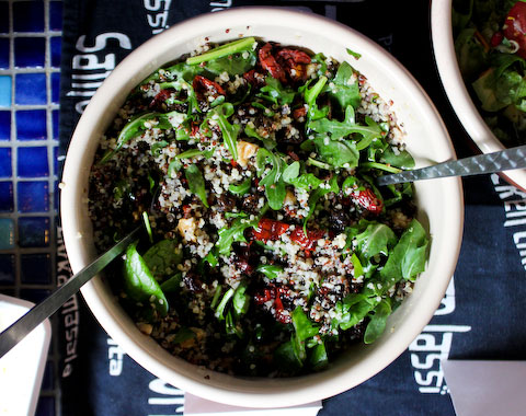 My favorite Quinoa recipe: Mix with salad greens (I like kale, spinach and arugula), tomatoes, sundried tomatoes, raisins, raw walnuts & sesame oil. Yummy!