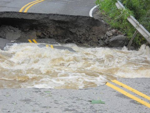Flooding and damaged roads in the Catskills.