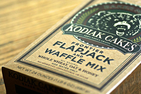 Based on an old family recipe, Kodiak Cakes Frontier Flapjack and Waffle Mix is made with 100% whole grains, honey, and egg-whites. It has no added sugar, fat, or cholesterol. Just add water.