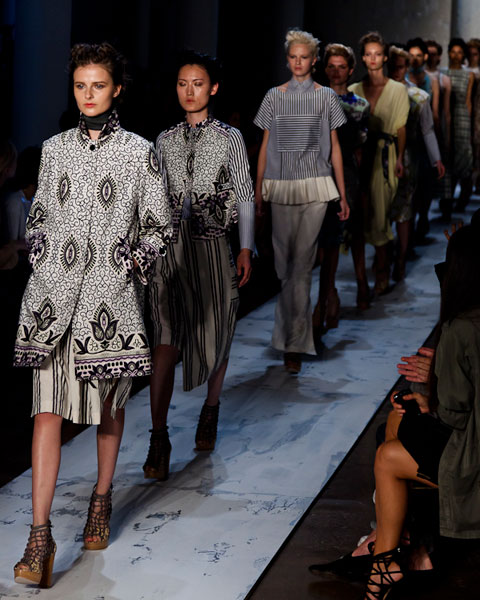 Suno NY SS12 on the runway at NYFW. Photo by Nando Alvarez, via heartifb.com