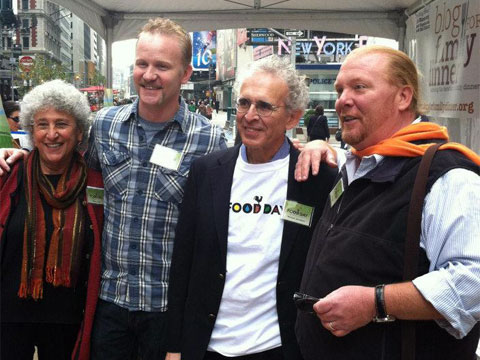 Marion Nestle, Morgan Spurlock, Mike Jacobson & Mario Batali at the Food Day event in Times Square.