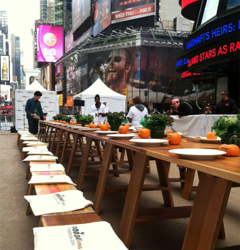 Dinner soon the be served in the middle on bustling Times Square.