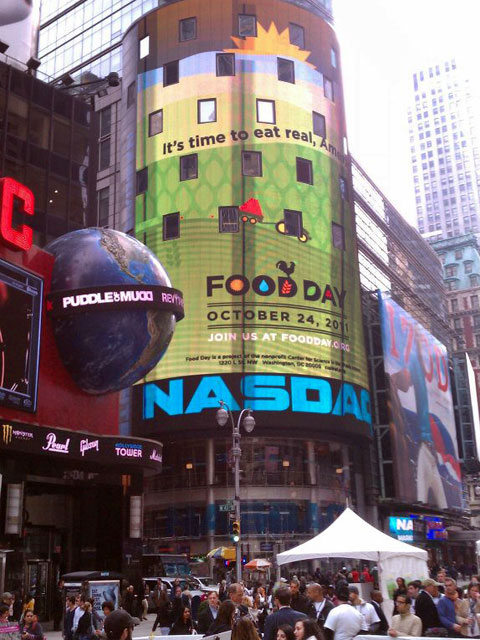 Food Day banner in Times Square.