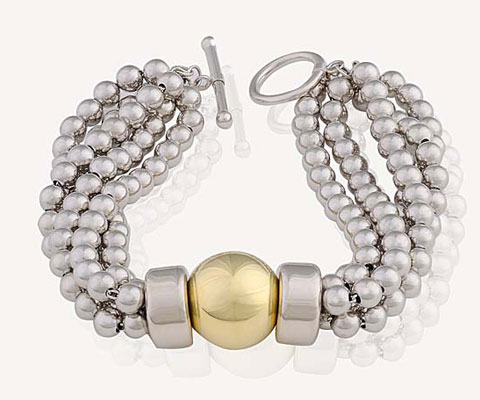 Gold and Silver Multi Strand Beaded Bracelet