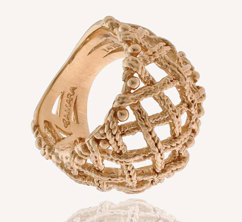 14K Gold Woven Braid Dome Ring