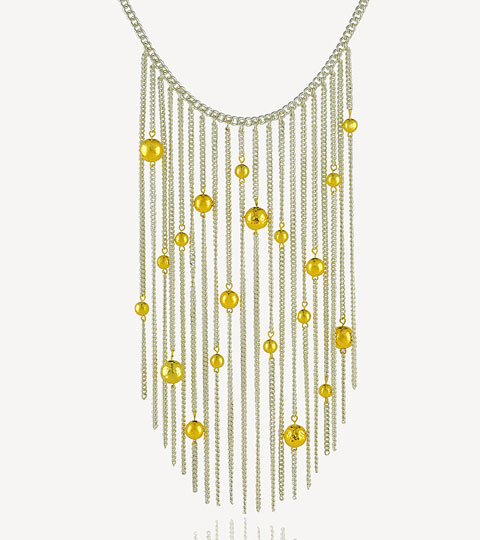 Gold and Silver Waterfall Necklace