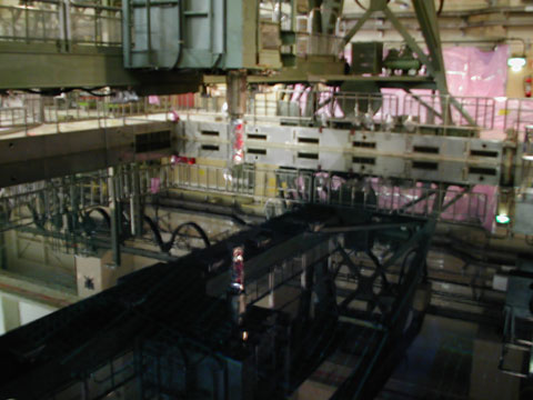 A fuel pool in one of the reactor buildings at Fukushima I nuclear power plant, Japan. Photo by Kawamoto Takuo, Wikimedia Commons.