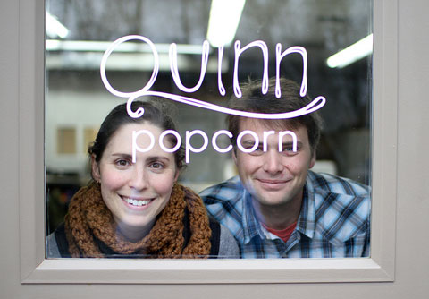 Kristy and Coulter Lewis, Founders of Quinn Popcorn. The company is named after their son.