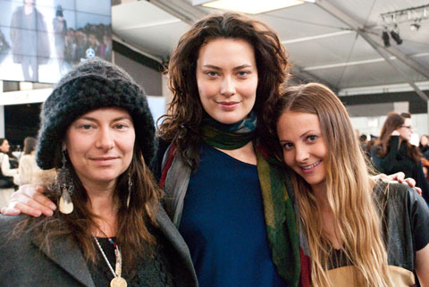 Marina Burini, owner of Brooklyn shop Beautiful Dreamers, actress Shalom Harlow and Kestrel Jenkins, stylist and brand concierge for Fashioning Change