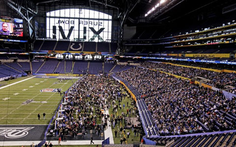 Lucas Oil Stadium, the site of Super Bowl XLVI.