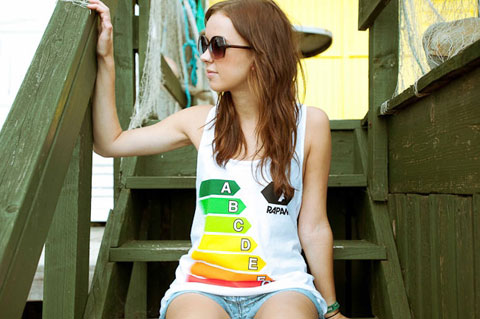 Rapanuis eco-labeling system — here demonstrated on a tank top — uses a simple letter-graded rating scale inspired by the EU energy rating label.