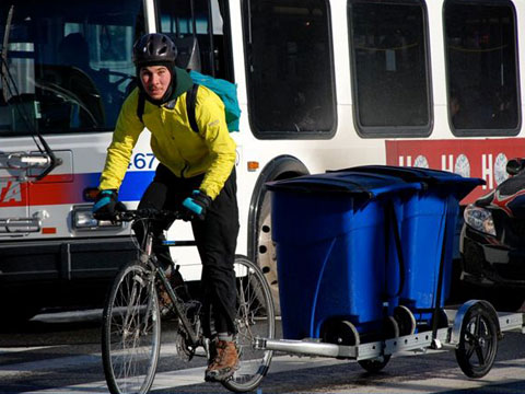 The pick-up and delivery fleet consists of a team of decidated cyclists that will brave the elements (even if it requires studded snow tires) to get your laundry to you on time.