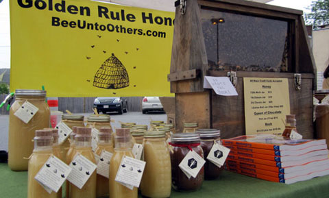Golden Rule Honey at the Medford Farmers Market. Photo via InsideMedford.com