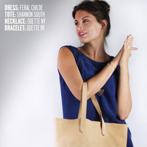 Feral Childe dress, Odette NY necklace & bracelet, Shannon South Montauk tote