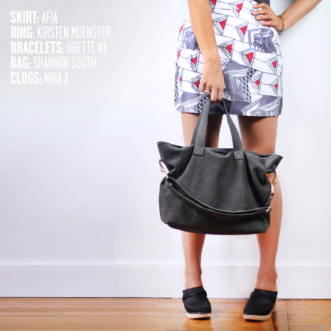 AFIA skirt, Kirsten Muenster ring, Shannon South Hudson tote, Nina Z clogs