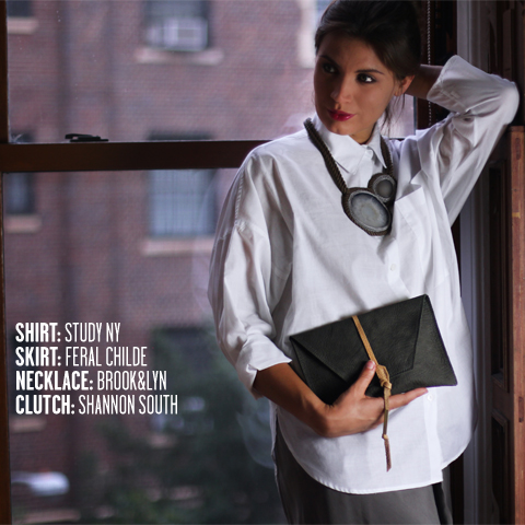 Study NY shirt, Feral Childe skirt, Brook&Lyn Necklace, Shannon South Aylen envelope clutch.