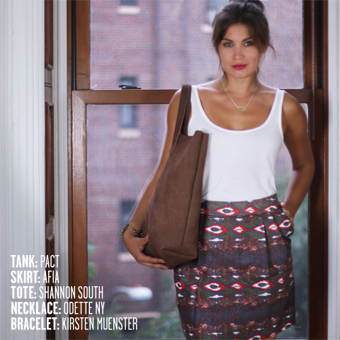 PACT tank, AFIA skirt, Shannon South Montauk tote, Odette NY necklace, Kirsten Muenster bracelet