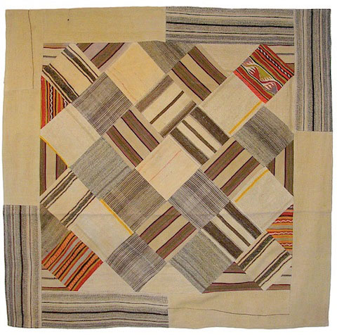 Goodlifer: Bazaar Bayar: Square Vintage Patchwork Stripe and Bright Kilim Rug