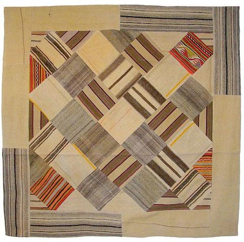 Goodlifer: Bazaar Bayar: Square Vintage Patchwork Stripe and Bright Kilim Rug
