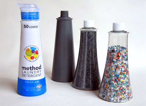The first prototype of the new bottle material, which was developed by Method and Envision Plastics and is called Ocean PCR.