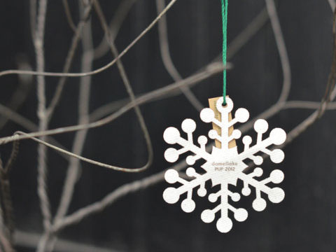 Made from the roof fabric of the former RCA Dome, the domeflake ornament is the perfect holiday gift for your favorite sports fan.