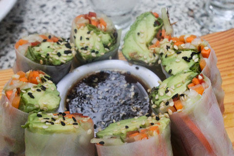 Vegan summer rolls at El Sano Banano in Montezuma.