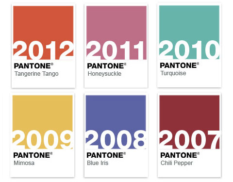 Some of Pantone's previous 'Colors of the Year'.