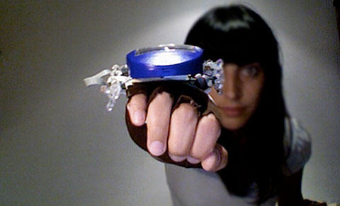 The Speedborg has a internal radar that allows you to perceive the exact speed of movements in front of you via vibrations.