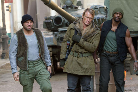Lundgren, as we are used to seeing him, in Expendables 2, probably getting ready to blow something up.